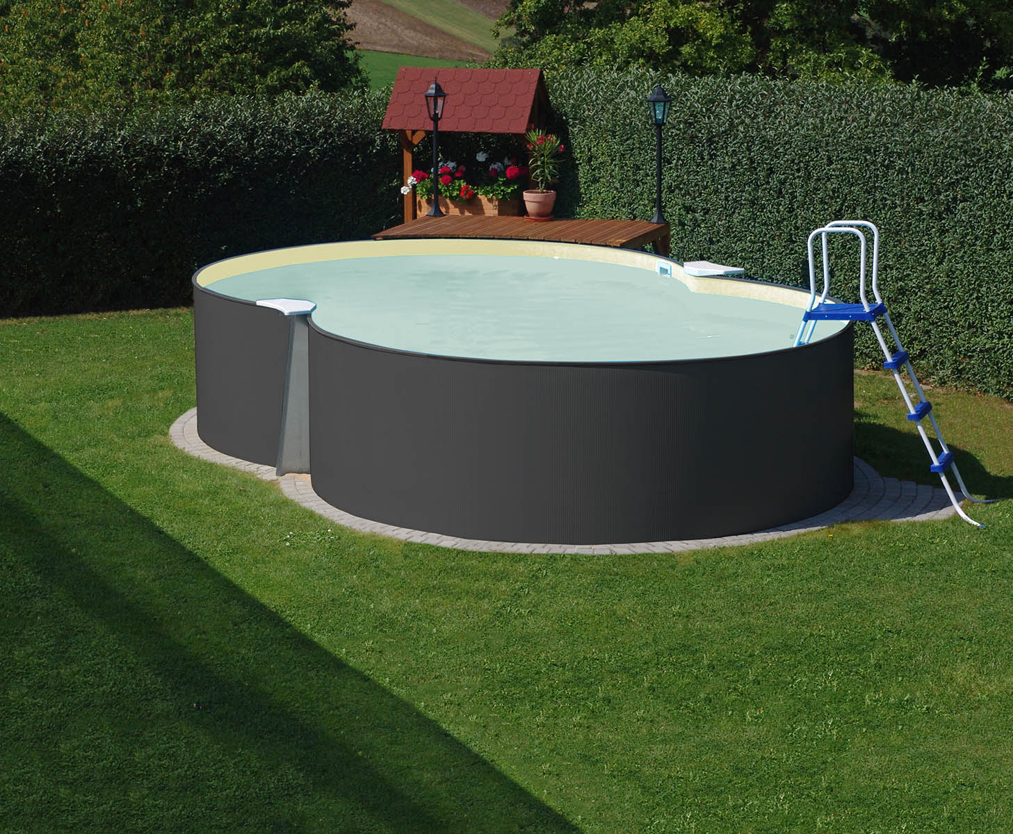 PLANET POOL Achtformpool 470x300x120cm Anthrazit