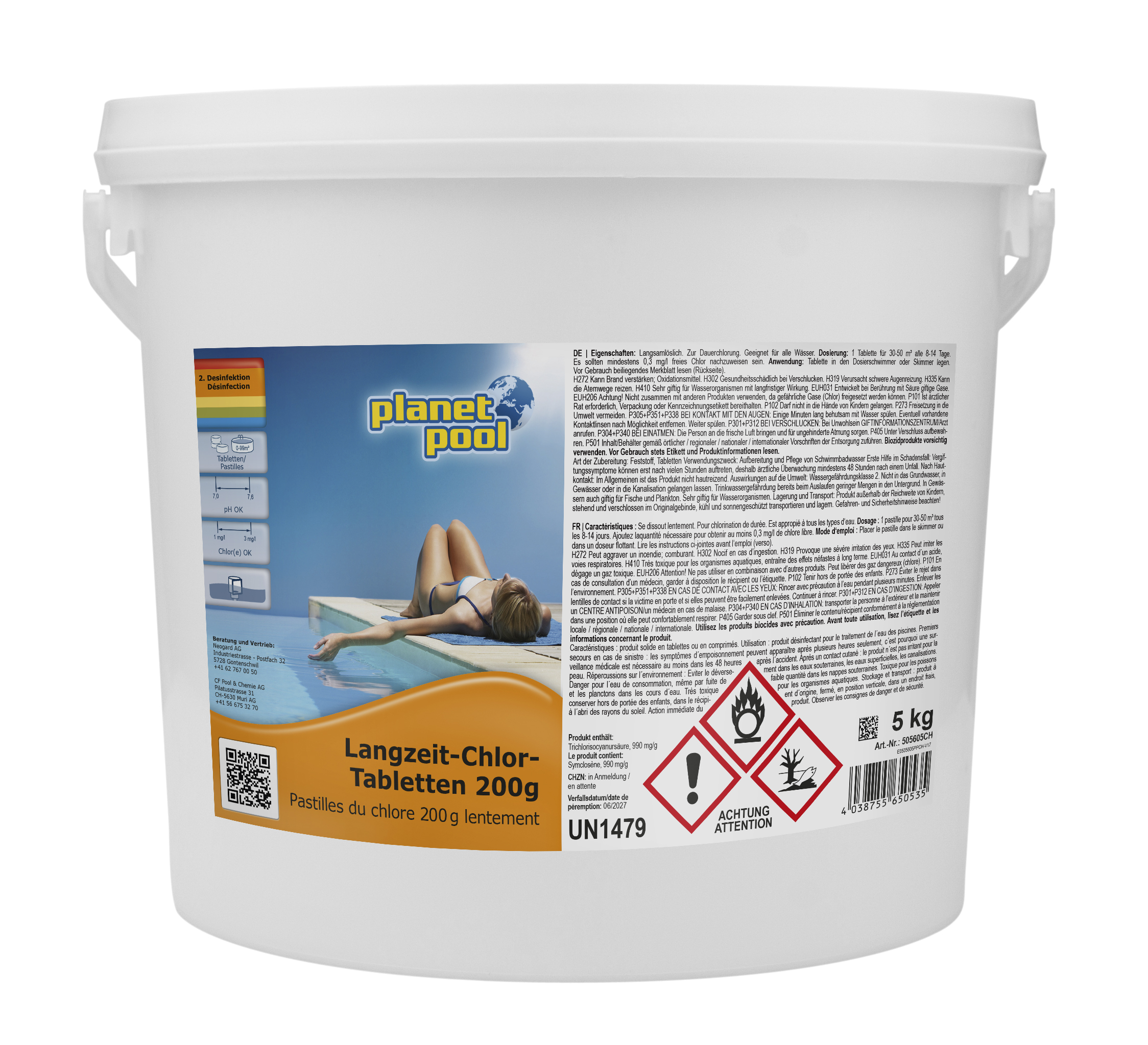 PLANET POOL Langzeit-Chlor-Tabletten 200 g, 5 kg