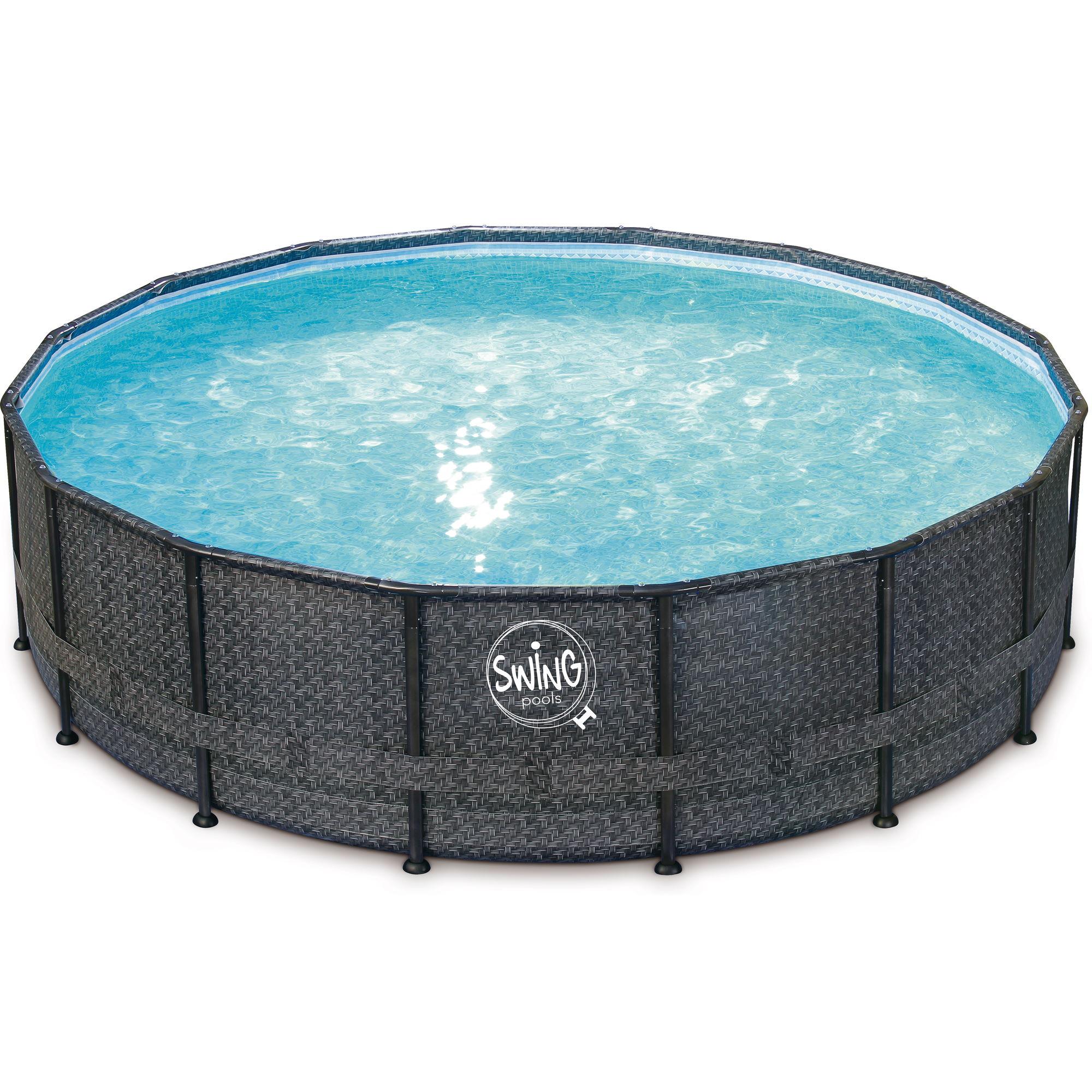 Elite Frame Pool rund - Rattan dunkel grau 549x132cm Solo