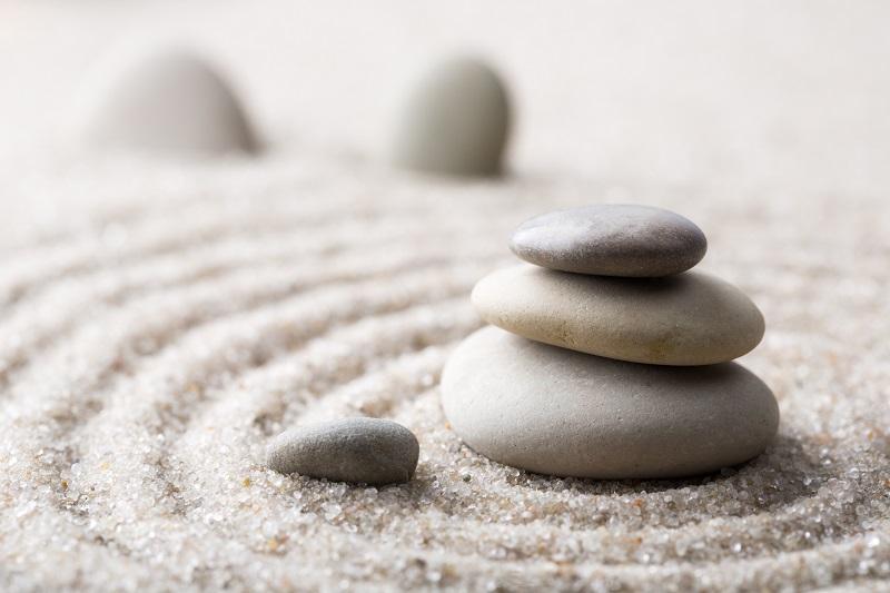 Zen Garten Sand Steine