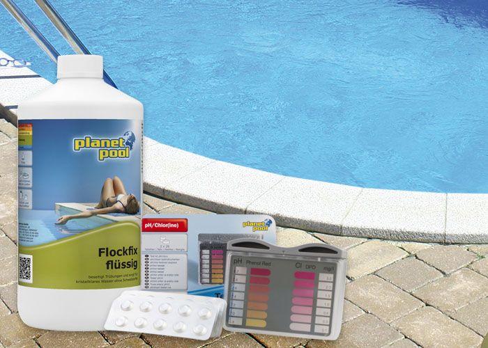Chemikalien auf Steinumrandung vor Pool