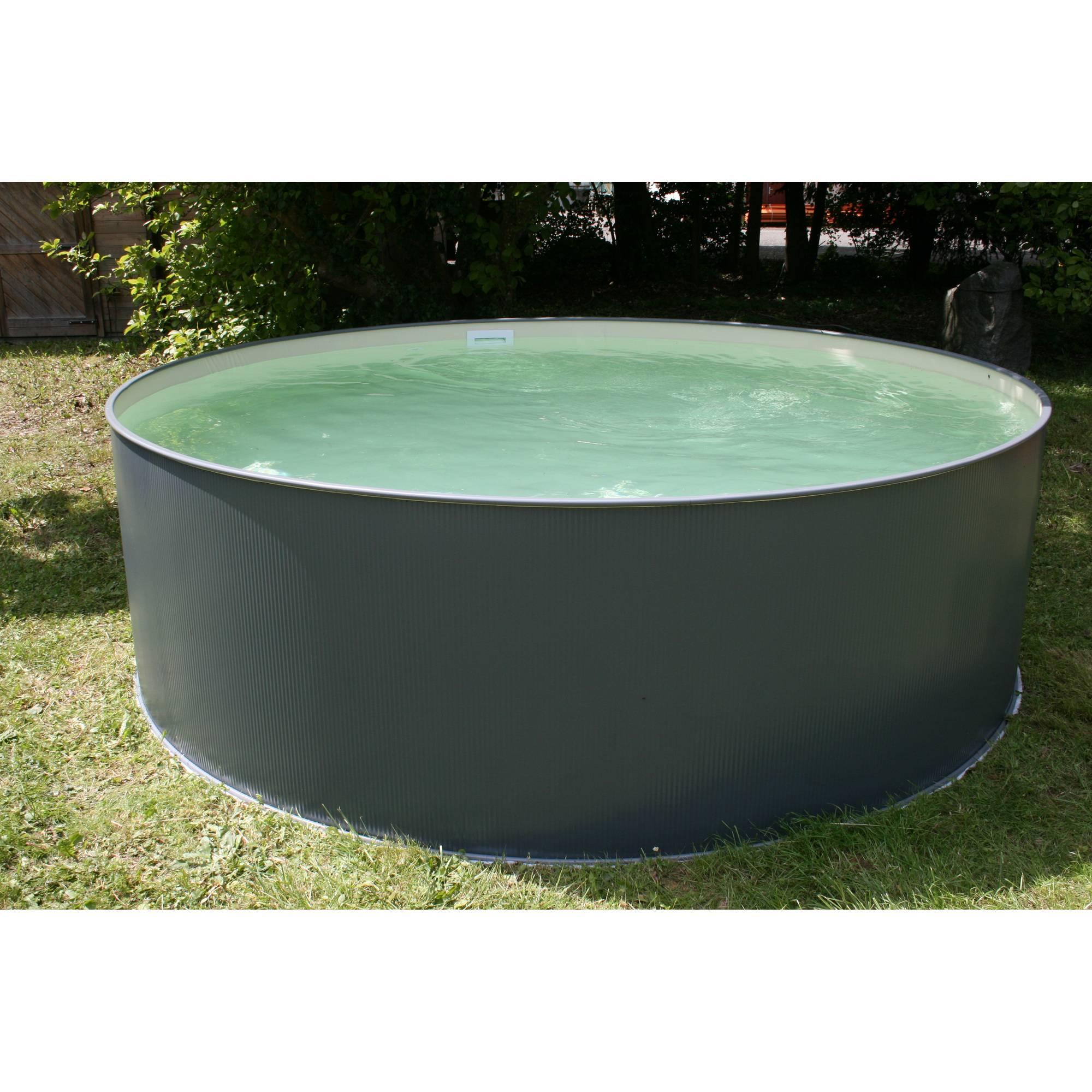 Stahlwandpool rundform anthrazit 350x90 cm, Innenhülle sandfarben, overlap
