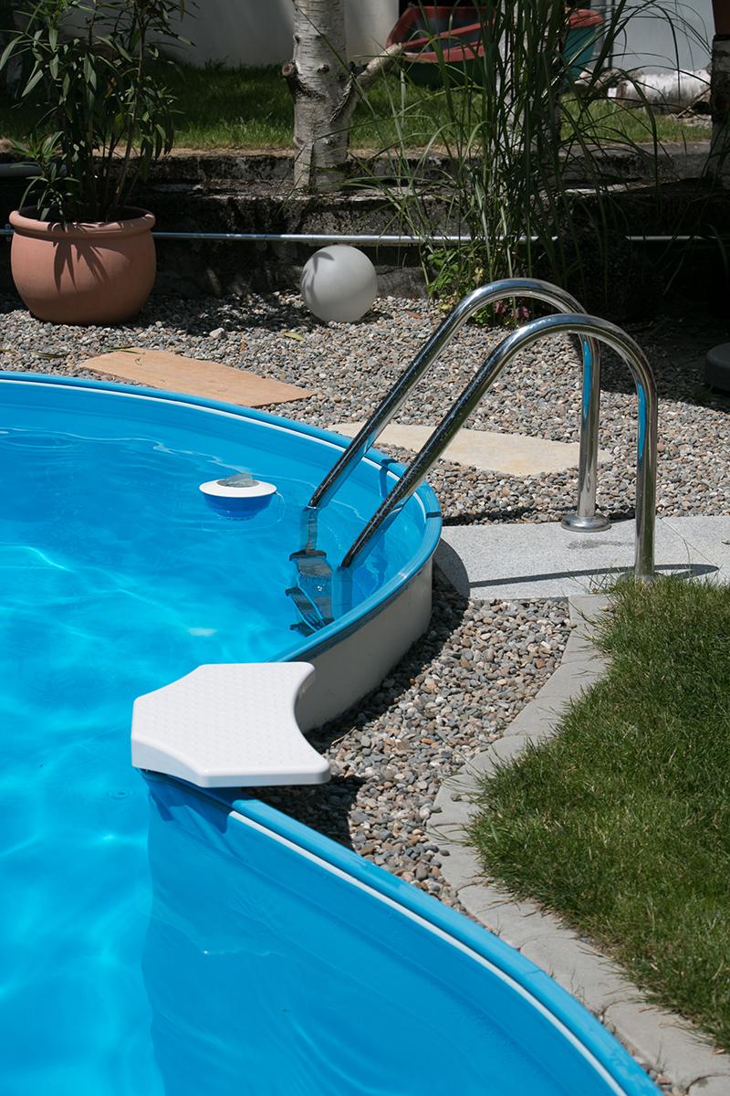 Tiefbeckenleiter Edelstahl für 120 cm tiefe Becken - weit