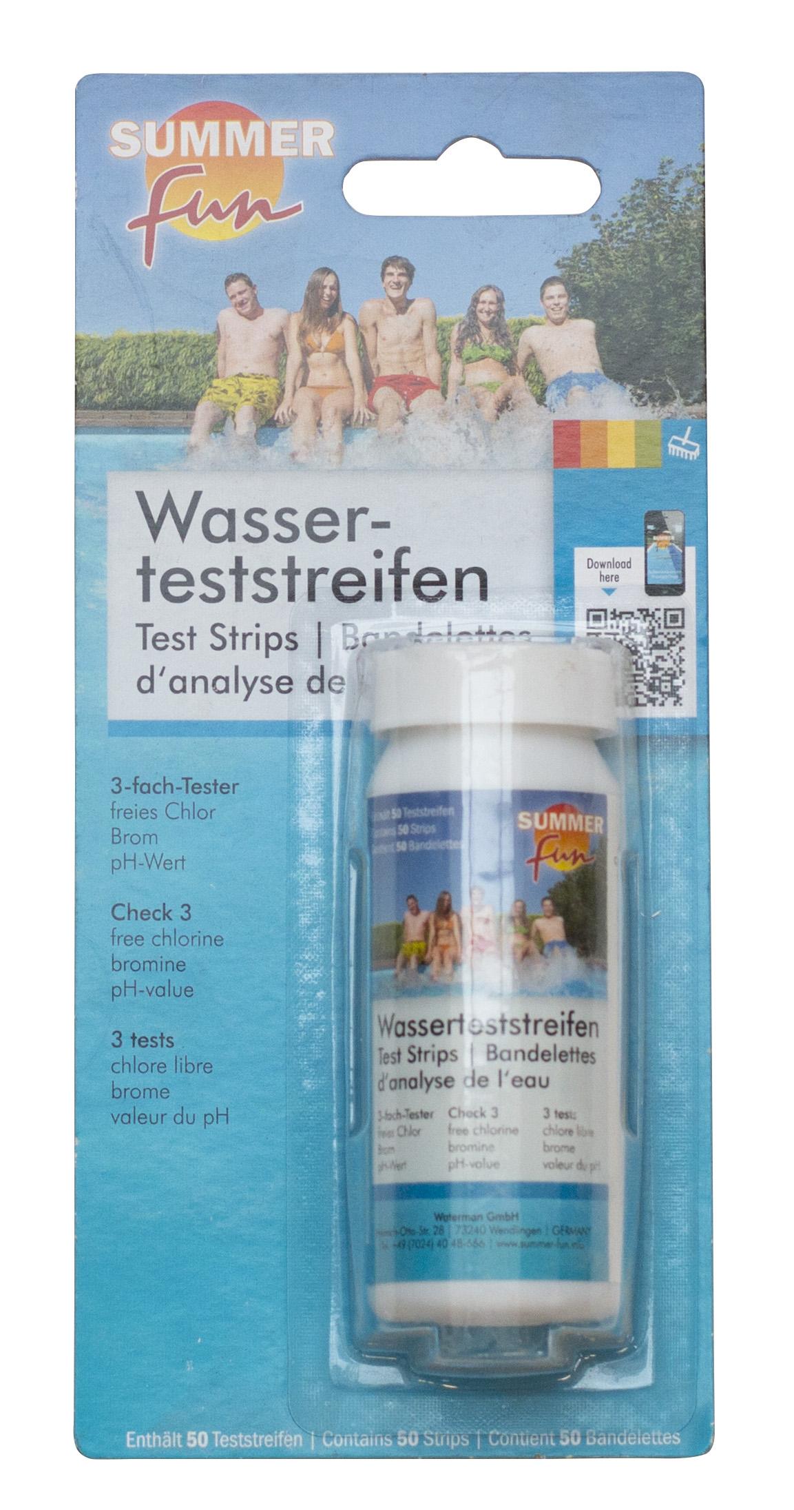 Wasserteststreifen (50 Stück) - pH/chor/Brom Summer Fun