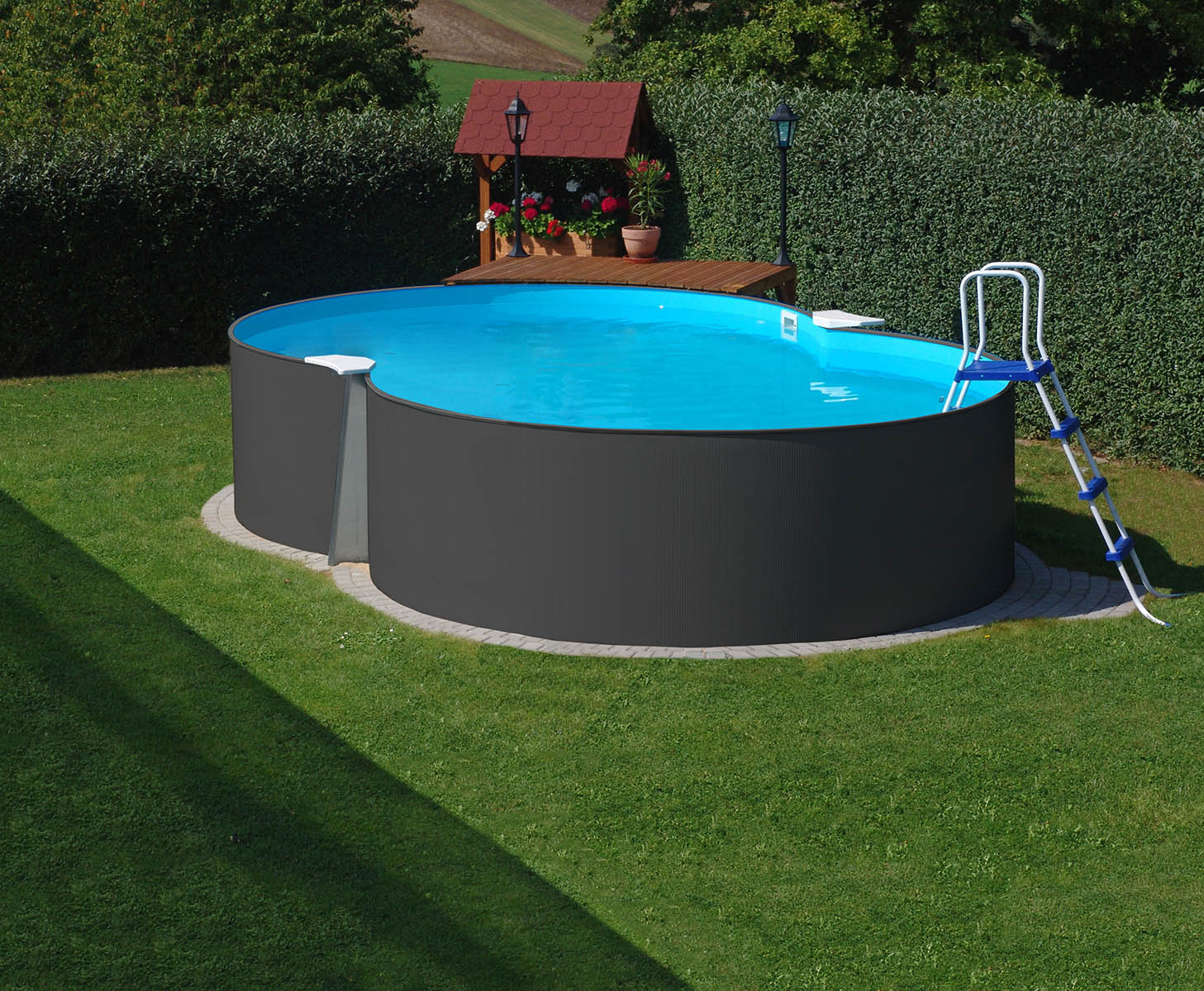 PLANET POOL Achtformpool 650x420x120cm ANTHRAZIT