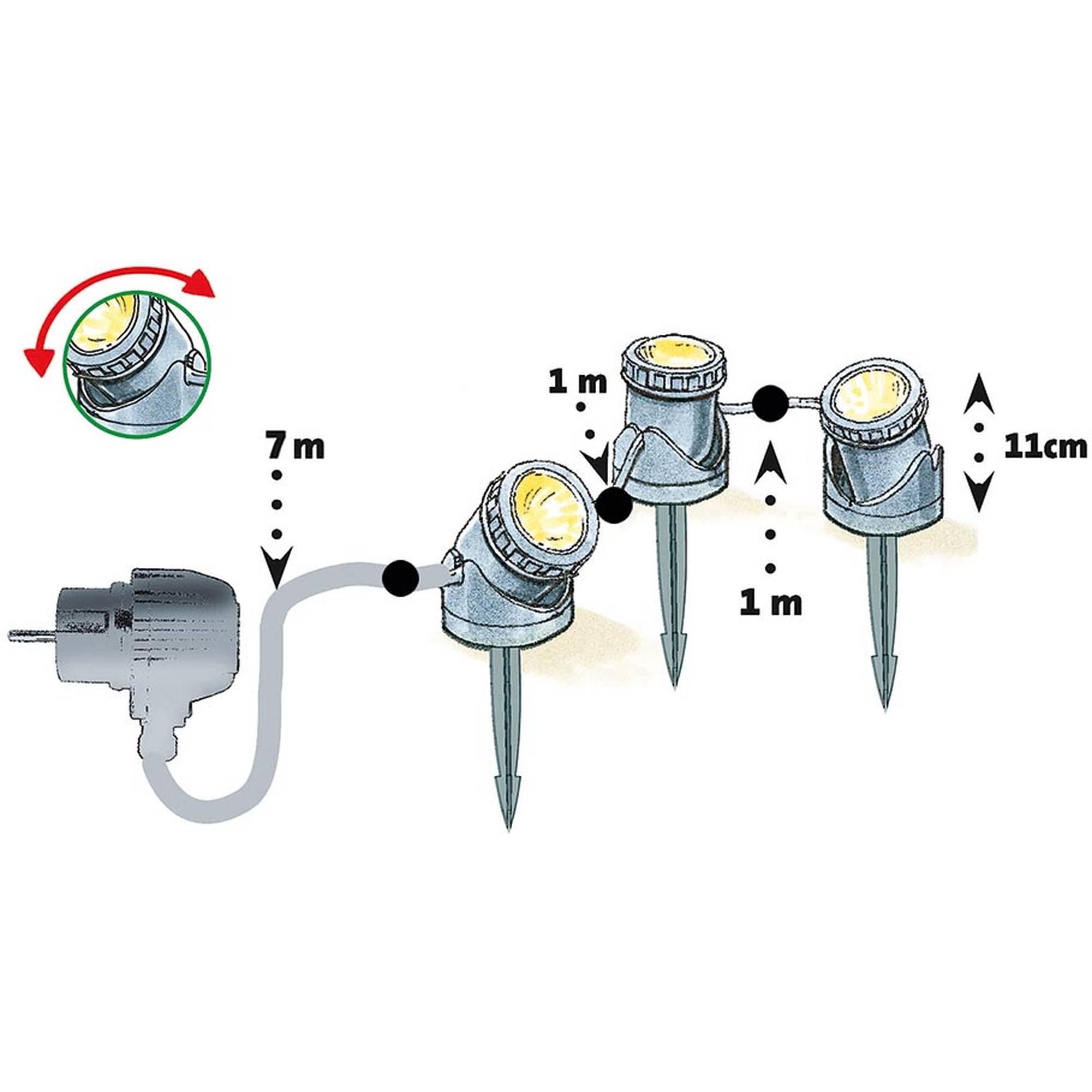 Teich- und Gartenlicht, 3er-LED-Set