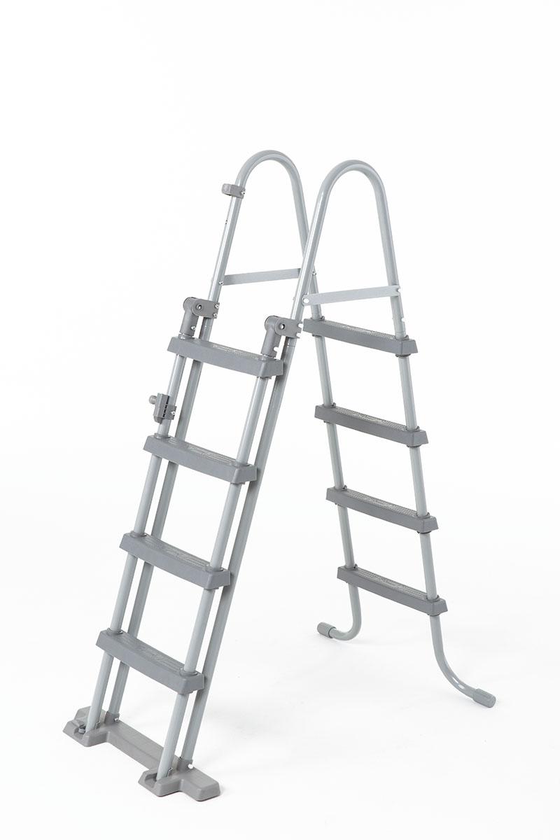 Pool-Sicherheitsleiter für Becken bis 122 cm ohne Plattform - 2x4 Stufen - grau
